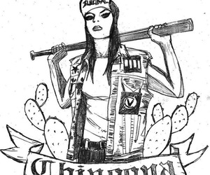 drawing, patches, and vest image