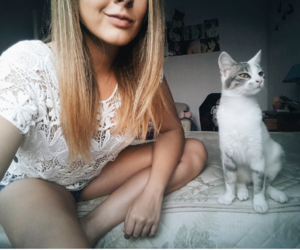 blonde, cat, and smile image