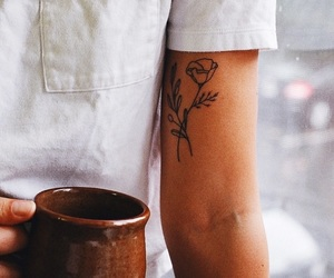 tattoo, coffee, and flowers image