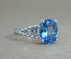 etsy, blue topaz ring, and oval engagement ring image