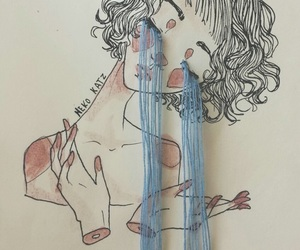 art, cry, and drawing image