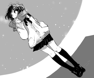 anime, girl, and monochrome image