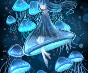 anime, girl, and jellyfish image