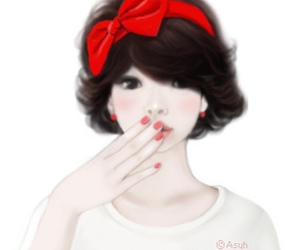 bows, girl, and red image