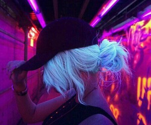 girl, neon, and hair image