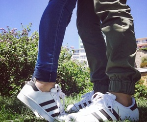 adidas, couple, and superstar image