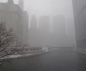 city, pale, and fog image