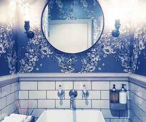 bathroom, decor, and floral image