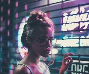 girl, neon, and lights image