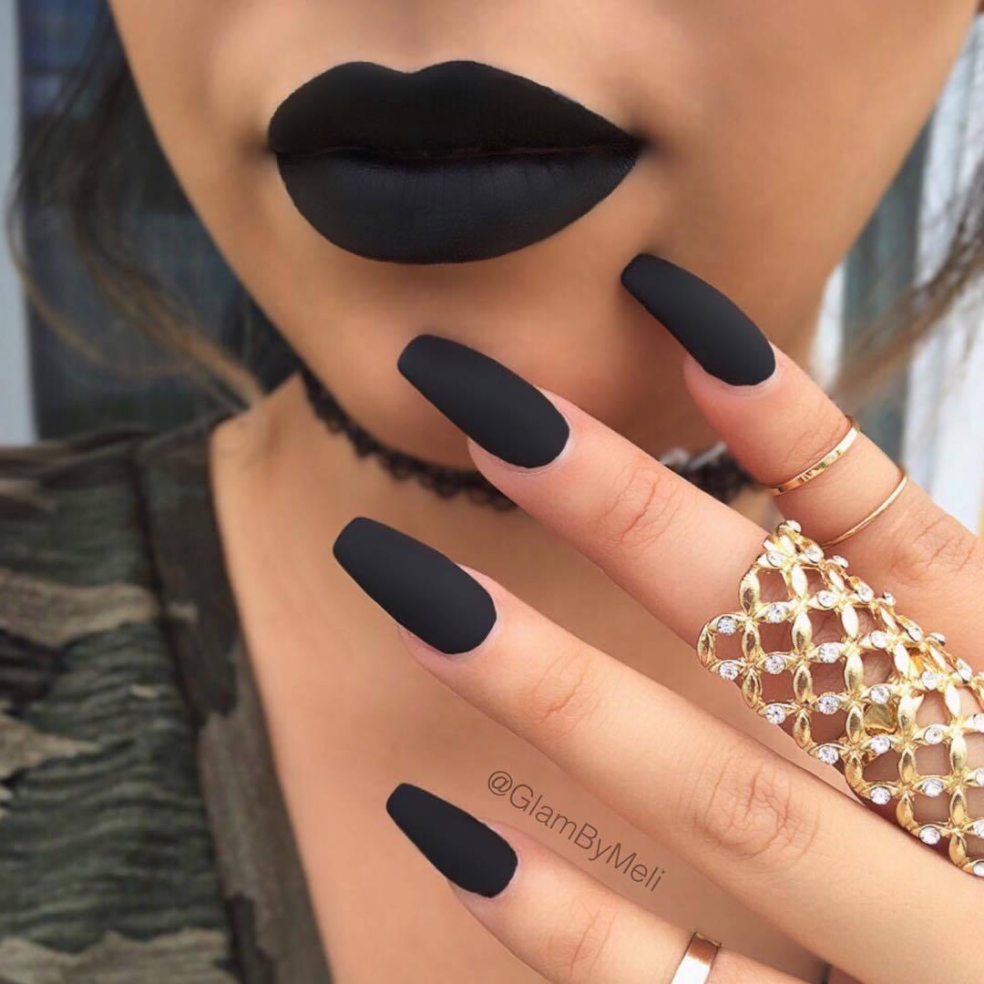 Matte Black Nail Polish Designs