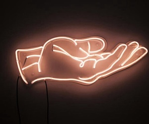 light, hand, and neon image