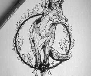 fox, art, and black image
