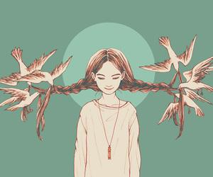 art, birds, and braids image