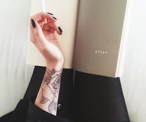 book, tattoo, and black image