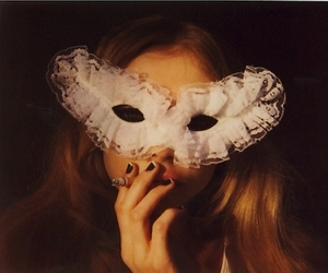 mask, girl, and cigarette image