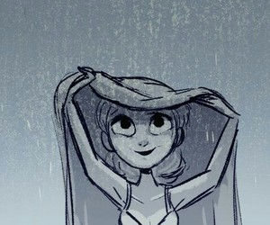 rain, girl, and drawing image
