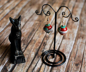 fortune teller, red and green, and ball earrings image