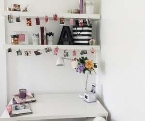 desk, flowers, and room image