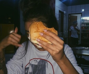 food, girl, and burger image