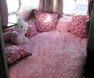 hello kitty, pink, and bed image