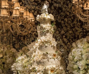 cake, reception, and chandelier image
