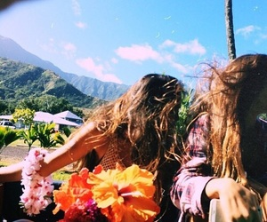 best friends, flowers, and tropical image
