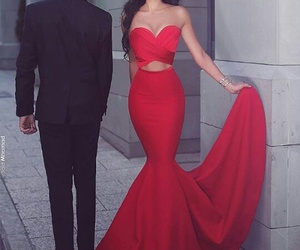 red, dress, and couple image