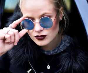 blonde, girl, and lipstick image