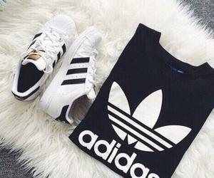 adidas, black, and blanco image
