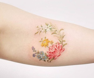 beautiful, flower, and tatoo image