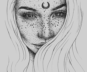 girl, art, and moon image