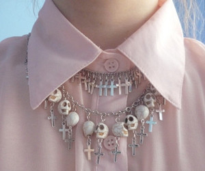 skull, cross, and pink image