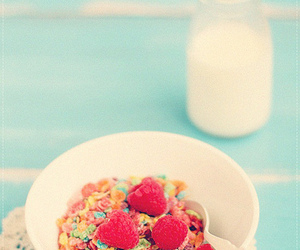 cereal, fruity pebbles, and rasberries image