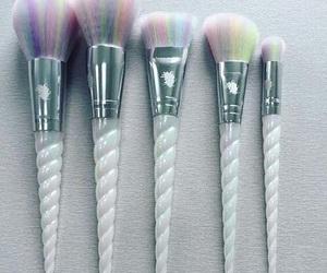 Brushes, makeup, and unicorn image