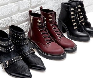 ankle boots, black, and crimson red image
