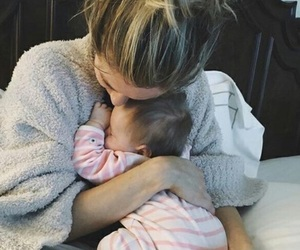 baby girl, blonde, and mom image