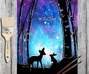 art, bunny, and deer image