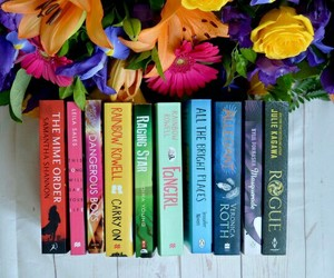 books, colors, and flowers image