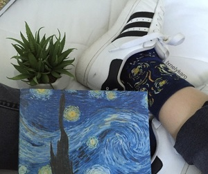 art, plants, and starry night image
