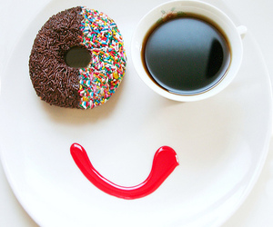 smile, coffee, and donuts image