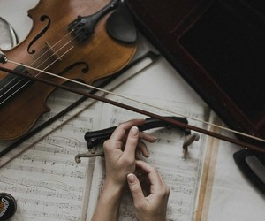 music, hands, and violin image