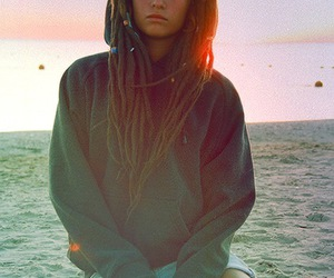girl, beach, and dreads image