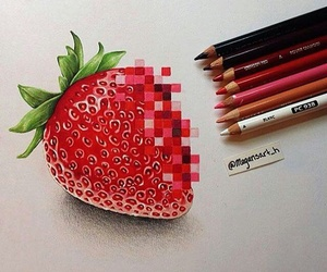 art, strawberry, and drawing image