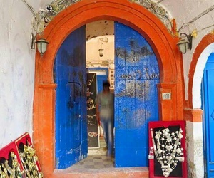 blue, city, and door image
