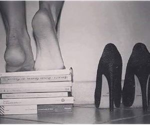 book, heels, and woman image
