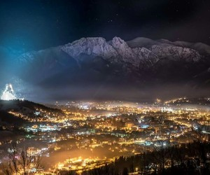 city, lights, and mountains image