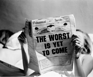 black and white, newspaper, and worst image