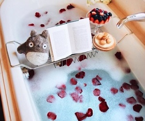 bath, book, and food image