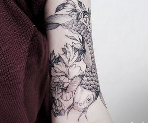 arm tattoo, tattoo, and flower image
