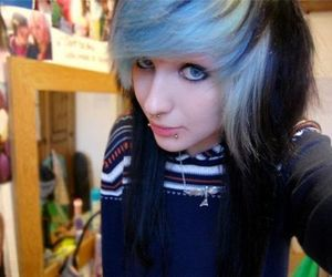blue hair, portrait, and girl image